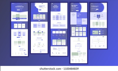 Landing Page Website Template Vector.  Business Interface. Landing Web Page. Responsive Ux Design. Responsive Blank. Finance Career Service.  Opportunity Mail Form. Illustration
