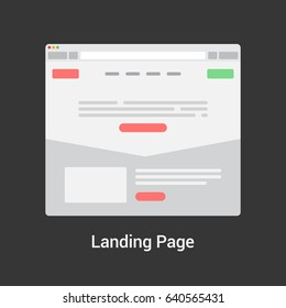 Landing page website wireframe interface template. Flat vector illustration.