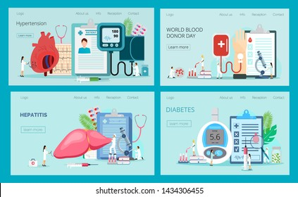 Landing pages with blood glucose testing meter, hypotension and hypertension, hepatitis, blood donation. Diabetes mellitus, type 2 diabetes and insulin production concept vector.