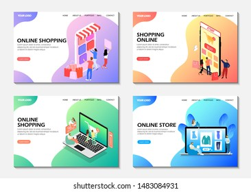 Landing pages. Online shopping, online store. Isometric. Modern web pages.