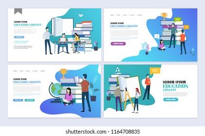 Landing pages template set of education, online education, e-learning. Modern flat design concept. Web page design for website and mobile website. Flat vector illustration.