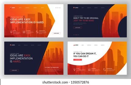 Landing pages templates set for business. Modern web page design concept layout for website. Vector illustration. Brochure cover, banner, slide show.