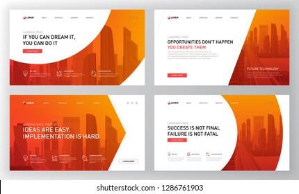 Landing pages templates set for marketing. Modern web page design concept layout for website. Vector illustration. Brochure cover, banner, slide show.