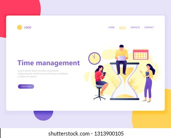 Landing web page template of time management with people sitting and standing near hourglass with laptop and tablet. Planning and strategy. Flat concept vector illustration for website, mobile, ui, ux