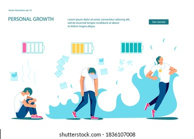 Landing webpage template of Professional Burnout at work metaphor. Concept of enthusiastic manager on the start of project and exhausted on the finish. Flat Art Vector Illustration