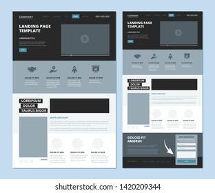 Landing wireframe. Internet web page ui template menu navigation video gallery and footer information vector landing design. Illustration of ui web layout page, website menu navigation