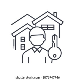 Landlord icon, linear isolated illustration, thin line vector, web design sign, outline concept symbol with editable stroke on white background.