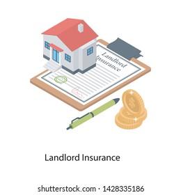 Landlord insurance icon in isometric design