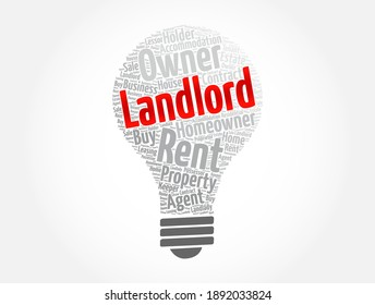 Landlord light bulb word cloud collage, concept background