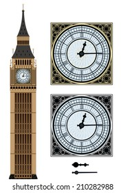 Landmark Big Ben and the clock. Vector illustration on isolated white background.