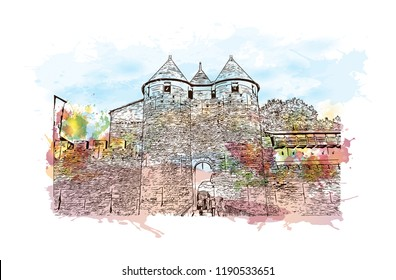 Landmark building of Carcassonne City in France. Watercolor splash with hand drawn sketch illustration in vector.