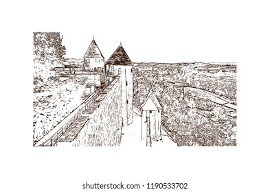 Landmark building of Carcassonne City in France. Hand drawn sketch illustration in vector.