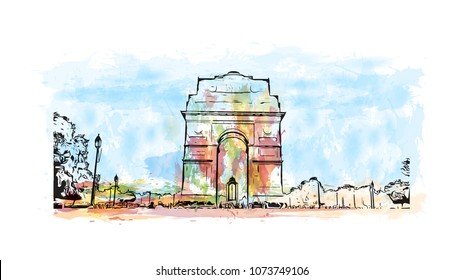 Landmark with building of Delhi, capital of India. Watercolor splash with hand drawn sketch illustration in vector.