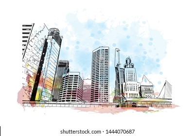 Landmark with building of Minneapolis is a major city in Minnesota. Watercolor splash with Hand drawn sketch illustration in vector.