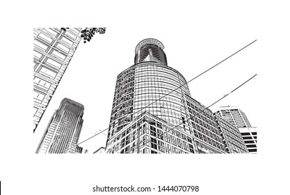 Landmark with building of Minneapolis is a major city in Minnesota. Hand drawn sketch illustration in vector.