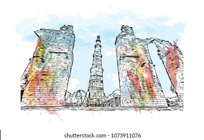 Landmark building with street view of Delhi, capital of India. Watercolour splash with Hand drawn sketch illustration in vector.