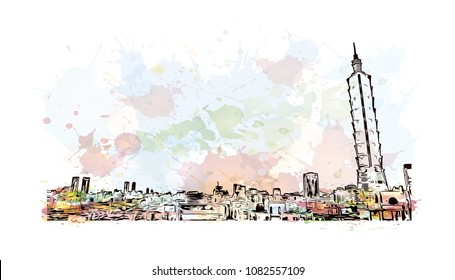 Landmark building of Taipei, Capital of Taiwan. Watercolor splash with Hand drawn sketch illustration vector.