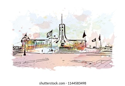 Landmark building of Tunis is the sprawling capital of Tunisia, a country in North Africa. Watercolor splash with Hand drawn sketch illustration in vector.