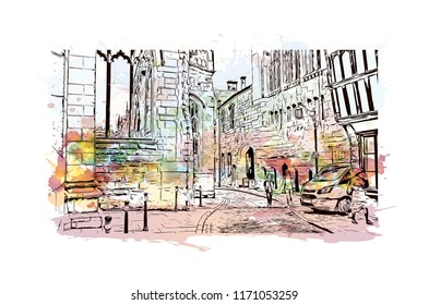 Landmark with building view of Coventry West Midlands is a city in central England. Watercolor splash with Hand drawn sketch illustration in vector.