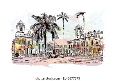Landmark and building view of The Historic Center of Salvador, Bahia, Brazil. Watercolor splash with hand drawn sketch illustration in vector.