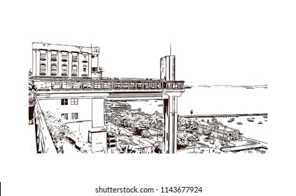 Landmark and building view of The Historic Center of Salvador, Bahia, Brazil. Hand drawn sketch illustration in vector.