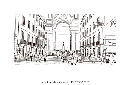 Landmark building view of Lisbon is Portugal's hilly, coastal capital city. Hand drawn sketch illustration in vector.