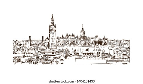 Landmark with building view of Seville is the capital of southern Spain. Hand drawn sketch illustration in vector.