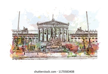 Landmark building view of Vienna, Austria's capital, lies in the country's east on the Danube River. Watercolor splash with hand drawn sketch illustration in vector.