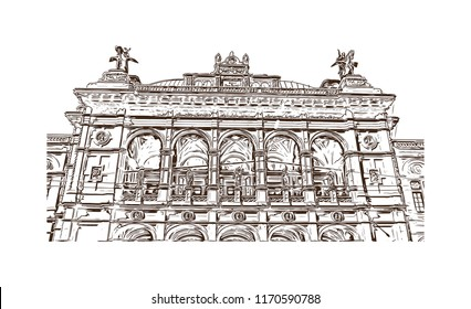 Landmark building view of Vienna, Austria's capital, lies in the country's east on the Danube River. Hand drawn sketch illustration in vector