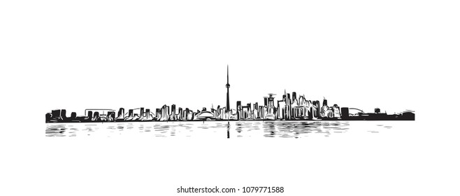 Landmark with buildings and street of Toronto, the capital of the province of Ontario, is a major Canadian city. Hand drawn sketch illustration in vector.