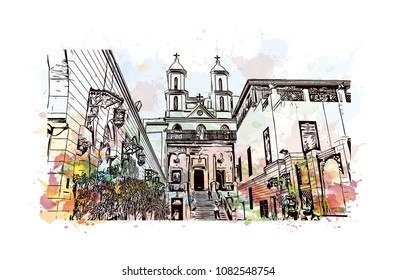 Landmark of Cairo, Capital of Egypt. Watercolor splash with Hand drawn sketch illustration in vector.