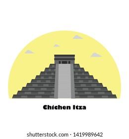Landmark Chichen Itza Pyramids in Central Mexico