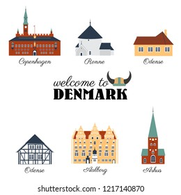 Landmark of Denmark Copenhagen City Hall, Museum Of Andersen, Cathedral of Aarhus, Round Church Bornholm, House Of Jens Bang In Aalborg, Museum Funen village of Odense cartoon vector illustration