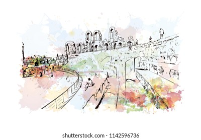 Landmark of El Djem, Town in Tunisia. Watercolor splash with hand drawn sketch illustration in vector.