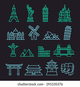 Landmark Icons. Liberty, Pisa, Eiffel, Big Ben, Taj Mahal, Saint Basil, The Redeemer, Windmill, Opera House, Piramid, Colosseum, London Bridge, Fushimi Inari, Forbidden City, Osaka Castle, Moai.