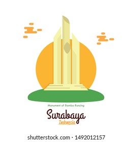 The Landmark Icons Monument of Bambo Runcing Surabaya Indonesia Vector illustration