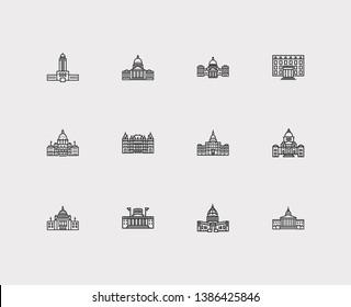 Landmark icons set. Alaska state capitol and landmark icons with rhode island, state capitol, structure. Set of political for web app logo UI design.