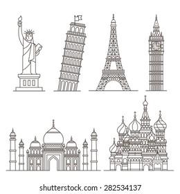 Landmark icons. Statue of Liberty, Tower of Pisa, Eiffel tower, Big ben, Taj mahal, Saint basil's cathedral. Vector illustration