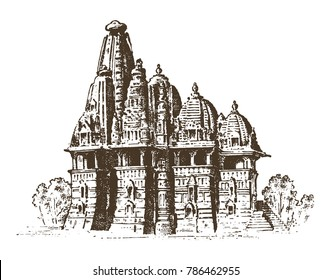 landmark of Indian architecture, Traditional religious hindu Temple. engraved hand drawn in old sketch, vintage style. Mumbai, Bangalore, Ahmedabad.