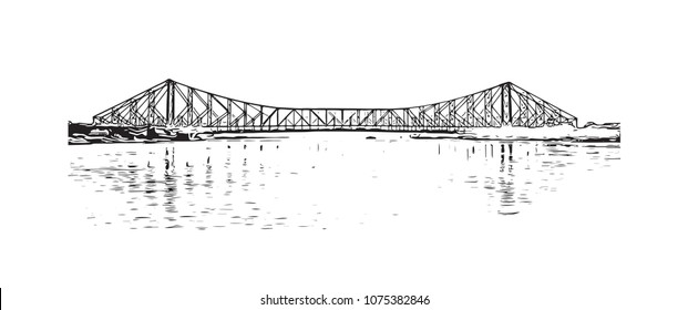 Landmark of Kolkata, City in West Bengal, India. Hand drawn sketch illustration in vector.