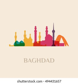 Landmark and monument isolated silhouette Baghdad city vector