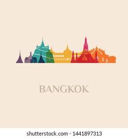 Landmark and monument isolated silhouette Bangkok city vector