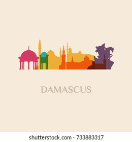 Landmark and monument isolated silhouette Damascus city vector