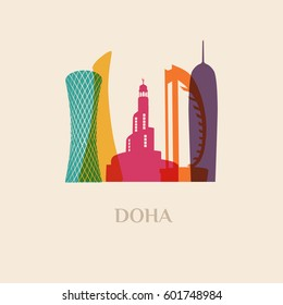 Landmark and monument isolated silhouette Doha city vector