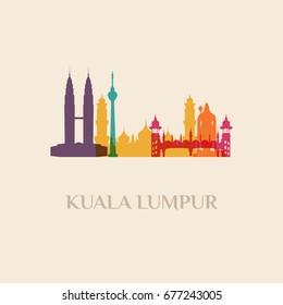 Landmark and monument isolated silhouette Kuala Lumpur city vector