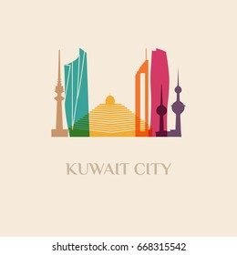 Landmark and monument isolated silhouette Kuwait City city vector sign