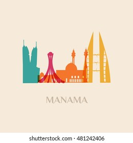Landmark and monument isolated silhouette Manama city vector
