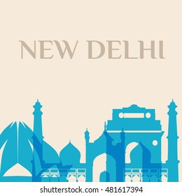 Landmark and monument isolated silhouette New Delhi city vector