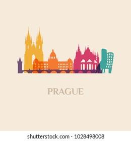 Landmark and monument isolated silhouette Prague city vector