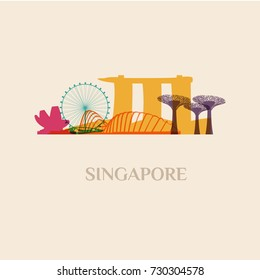 Landmark and monument isolated silhouette Singapore city vector